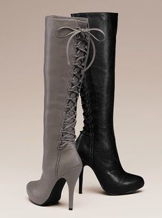 sexy lace-up boots from Victoria's Secret $99   #shoes #heels #fashion #style