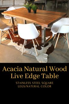 Before purchasing, you can contact us to arrange a FaceTime or Skype video session and choose your table with one of our design experts! See our customers' table photos on our The Henry dini Live Edge Wood, Live Edge Table, Steel Dining Table, Wood Tables, Acacia Wood, Minimalist Design, Modern Rustic, Wood Grain, Matte Black