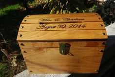 Personalized Wooden Wedding Treasure Chest Card Box Large With Card Slot Carved…