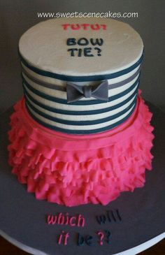 Awesome gender revealing party cake Ties Or Tutus, Bow Ties, Babyshower, Gender Party, Baby Party, Baby Shower Cakes, Baby Cakes, Baby Shower Gender Reveal, Reveal Parties