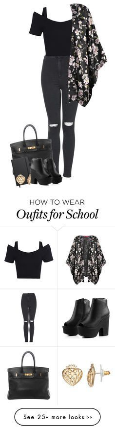 """back to school"" by w-anti on Polyvore featuring Topshop, Hermès, Shinola, Juicy Couture and Boohoo"