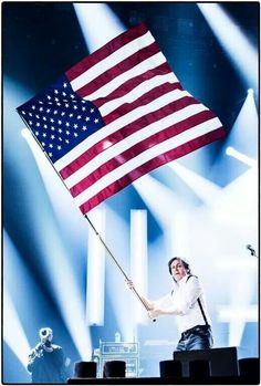Image result for paul mccartney oneon one usa flag