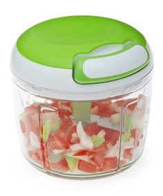 Quick and easy to use, simply load, lock and pull the string on this handy tool to expertly mince herbs and veggies for fresh salsa, salads and more.4'' H x 4'' diameterHolds 2 cupsABS / POMDishwasher safeImported