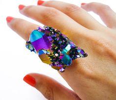 Titanium Rainbow Quartz Druzy Ring Crystal Aura