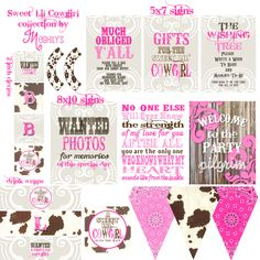 Western Girl Baby Shower. Love The Pink Bandana And Cow Print Triangle  Flags At The