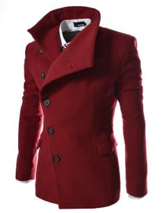 TheLees Men's Unbalance High Neck Slim Pea Coat in Wine