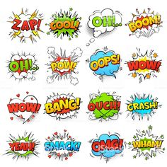 Illustration about Comic words. cartoon boom crash speech bubble funny elements and kids sketch stickers vector set. Illustration of boom, explosion, cloud - 138360720 Cartoon Speech Bubble, Comic Text, Graffiti Lettering Fonts, Children Sketch, Fun Illustration, Free Comics, Free Vector Art, Vector Icons, Pop Art