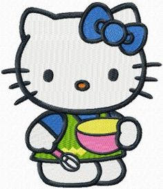 Hello Kitty Master Cook machine embroidery design. Machine embroidery design. www.embroideres.com