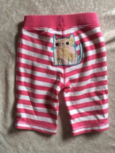 Hanna Andersson Pants Baby Girl 60 cat pink Striped 100% Cotton Knit Stretch Nwt