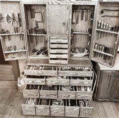 Tool cabinet. Old world quality that you rarely see nowadays. I love the time and effort that went into the making of this cabinet.