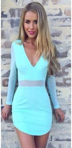 67668b6bc1 Indie XO Perfect Mesh Aqua Blue Black Sheer Mesh Accent Long Sleeve Cross  Wrap V Neck Bodycon Mini Dress - Just Ours! - Sold Out