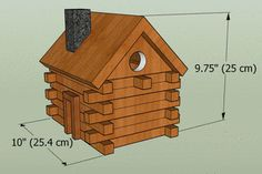 FREE bird house plans to make a LOG-CABIN shaped nesting box. COMPLETE instructions to create a wooden bird box for bluebirds, wrens . Wooden Bird Houses, Bird Houses Painted, Bird Houses Diy, Wooden Cabins, Bluebird Houses, Bird House Plans Free, Bird House Kits, Woodworking Plans, Woodworking Projects