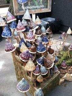 Pottery Mushrooms for the garden