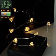Tråd 12-ljus batteridriven ljusslinga med diamantformade LED