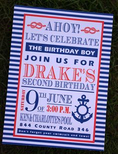 Nautical, Boating, Pirate Boys Birthday Party Invitations