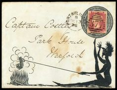 Hand Illustrated and Later Printed Covers: 1876 (Oct.) printed envelope showing a seated comical figure cooking a chop over an open fire and balancing a circular device on which the stamp is placed, used from Portarlington to Wexford with 1864–79