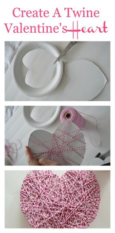 Create a super easy Twine Valentine's Heart using a paper plate.