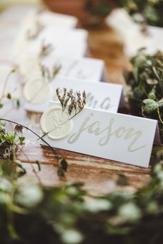 Wedding Table Name Cards, Wedding Place Names, Wedding Place Settings, Fern Wedding, Botanical Wedding, Wedding Images, Wedding Styles, Wedding Placement Cards, Wedding Stationery