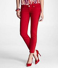 ZELDA COLOR CROPPED JEAN LEGGING - RED