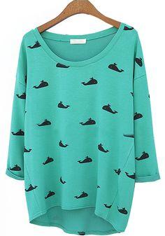 Green Whale Print Round Neck Cotton Blend T-Shirt