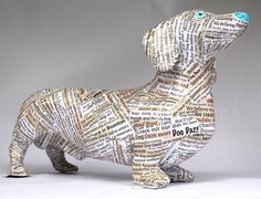Dachshund sculpture - Paper Trained by Susan Sopira