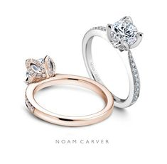 Infinitely chic rose gold or white gold engagement ring by Noam Carver.