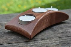 Wood candle holder centerpiece tealight holder reclaimed wood