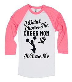 Cheer Mom Life I didn't choose the cheer mom life, it chose me. Driving to practices and competitions, bringing snacks, making sure hair and makeup is done, etc. That's what cheer moms do. Printed on Skreened Long Sleeve Cheer Coaches, Cheer Stunts, Cheer Dance, Mothers Day T Shirts, Dad To Be Shirts, Cute Cheer Shirts, Cheerleading Shirts, Football Cheer, Football Stuff