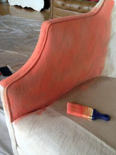 How to PAINT upholstered furniture. Basically just use a watered down version of acrylic paint, and a textile medium. What a great and INEXPENSIVE way to refinish fabric covered furniture! I always wondered if it would work -- it does!