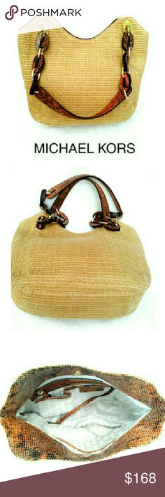 """MICHAEL KORS STRW & SNAKE BAG MICHAEL KORS NATURAL STRAW & SNAKE TRIM SHOULDER BAG *   Natural Straw Exterior *   Snake & Gold Metal Double Handles *   All Accented Trim Snake Embossed Leather *   Interior Zipper w/2 Slip Pockets on Each Side *   Interior FOB *   Approx Meas; H 11"""" W 13.5"""" D 4'"""" *  Handle Drop 12"""" Michael Kors Bags Shoulder Bags"""