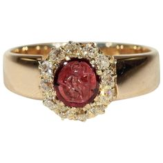 Victorian Intaglio Garnet Diamond Cluster Ring Gold | From a unique collection of vintage cluster rings at https://www.1stdibs.com/jewelry/rings/cluster-rings/