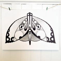Original Moth Contemporary Geometric Art Deco Style by LuluFrances, £210.00