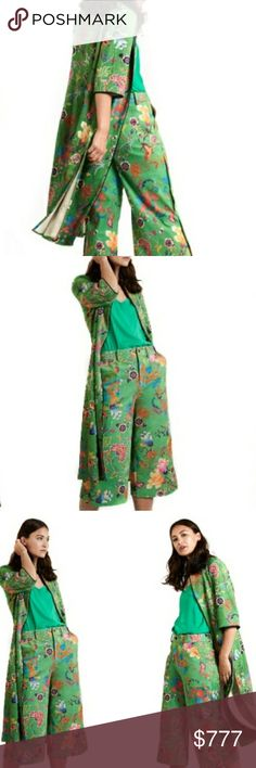GORGEOUS GREEN SUEDE JACKET Brand new Boutique item  Gorgeous Green faux suede long jacket with super fun multi colored floral print and 3/4 sleeves.   Per Designer: The majority of Jayley products are one size. Most of them will comfortably fit sizes 6-12, some garments may also fit a size 14. 77% Polyester 23% Elastane  As seen in pics JAYLEY Jackets & Coats