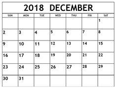 monthly december calendar 2018