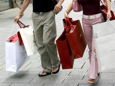 size: Photographic Print: Couple Walking with Shopping Bags on Konigsallee, Dusseldorf, North Rhine Westphalia, Germany by Yadid Levy : Fashion Go Shopping, Paper Shopping Bag, Dinner And A Movie, Couples Walking, North Rhine Westphalia, Christmas Shopping, Pop Culture, Khaki Pants, Germany