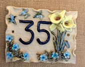 House number plaque, door numbers, address plaque,  daffodil design house number. - pinned by pin4etsy.com