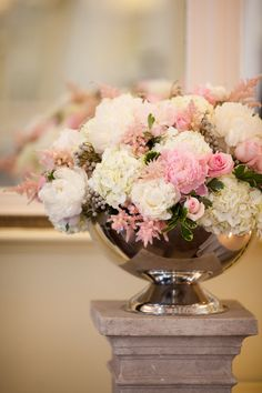 Wide Urn on a Pedestal--sometimes pink is a welcome relief from all the red and green and blue and white of the holidays