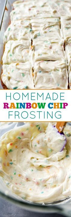 How to make sweet and cream rainbow chip frosting at home! Tastes even better than the real deal! Recipe on sallysbakingaddic...