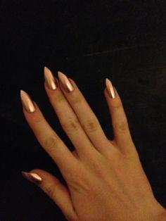 Gold press-on nails, fake nails, false nails, faux nails, acrylic nails, hand-painted nail set, rose gold More