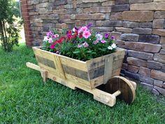 Pallet wood wheel barrel