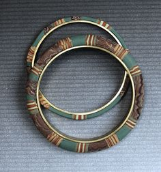 Lauren Abrams https://flic.kr/p/7RCPSX   Polymer on brass bangles   More brass bandles with polymer