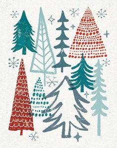 Christmas Tree Holiday Art Print  Michael Mullan (Would be nice for a card) Christmas Tree Design, Noel Christmas, Winter Christmas, Vintage Christmas, Michael Christmas, Christmas Patterns, Christmas Ideas, Christmas Wreaths, Christmas Paper Crafts