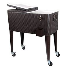 Portable Rolling Ice Cooler Chest Cart Wheels Outdoor Patio Brown Wicker  Pattern