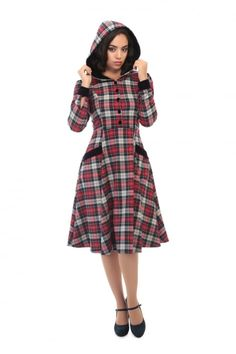 7debe76d3375 Collectif Vintage Ruby Sherwood Check Hooded Swing Dress