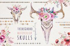 Watercolor boho skulls and flowers. Wedding by PeaceArtShop