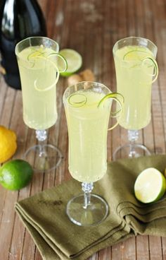Sparkling Limoncello Cooler ~ A refreshing combination of fresh lime juice, Limoncello, & bubbly sparkling wine.  The perfect summer cocktail!   www.thekitchenismyplayground.com