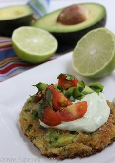 Avocado Quinoa Cakes with Avocado Crema and Salsa Fresca | Craving Something Healthy