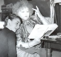 Colette and Audrey Hepburn. Colette was instrumental in casting Audrey Hepburn for the Broadway role of Gigi, written by Collette. Audrey Hepburn Enfants, Audrey Hepburn Children, Audrey Hepburn Born, People Reading, Marlene Dietrich, British Actresses, Hollywood Actresses, National Portrait Gallery, Brigitte Bardot