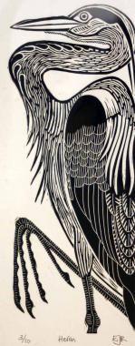 Heron by Elizabeth Rashley : Limited Edition, Collectors Original Prints For Sale, Contemporary Art Gallery, Devon, UK - The Brook Gallery : Buy Art Online