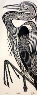 Heron by Elizabeth Rashley : Limited Edition, Collectors Original Prints For Sale, Contemporary Art Gallery, Devon, UK - The Brook Gallery : Buy Art Online